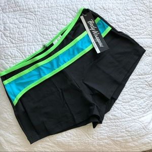Body Wrappers Hot Short Black and Neon Green M